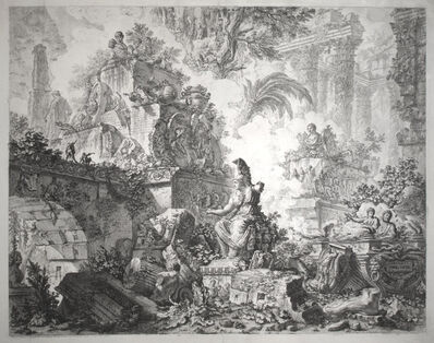 Giovanni Battista Piranesi, 'Vedute di Roma (3rd State) [Views of Rome: Frontispiece for the whole series, with Statue of Minerva ]', 1748
