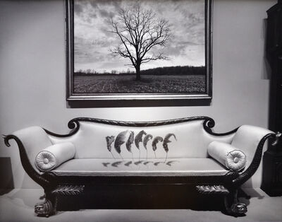 Jerry Uelsmann, 'Untitled (Seven leaves floating above couch,)', 1987