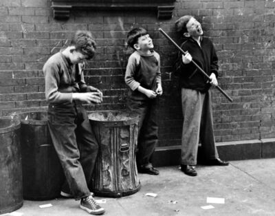 Ruth Orkin, 'Three boys with garbage cans, NYC', c.1947-1949