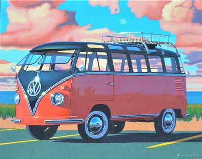 "Rob Brooks, '""Autumn Samba"" photorealistic painting of a red and navy Volkswagen Bus with pink clouds behind', 2018"