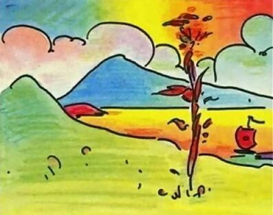 Peter Max, 'Tree with Sailboat', 2000