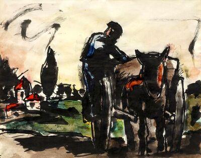 Josef Herman RA, 'Man and Cart'