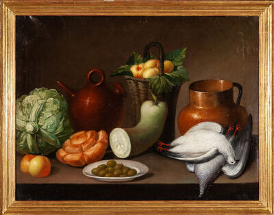 Unknown, 'Spanish School / Still life with vegetables and pigeons', XIX