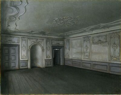 Vilhelm Hammershøi, 'Vilhelm Hammershøi, Interior of the Great Hall in Lindegaarden', 1909