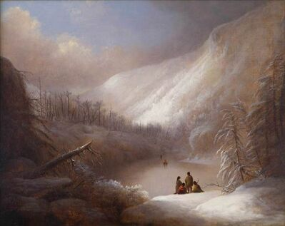 Alvan Fisher, 'Native Americans Crossing a Frozen Lake', 1845