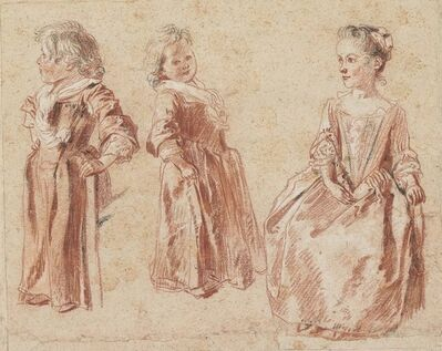 Jean-Antoine Watteau, 'Two studies of a young child standing, and another of a young girl seated', ca. 1716-1717