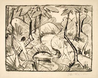 Otto Müller, 'Zwei Figuren am Waldbach 2 (Waldlandschaft) (Two Figures at the forest stream (Forest Landscape))', 1921-1922