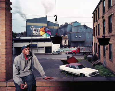Mark Neville, 'My neighbour Joe with our view of the Edgar Thomson Steel Mill', 2012