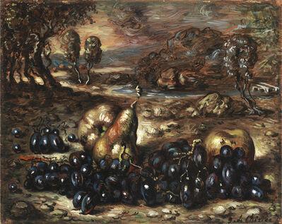 Giorgio de Chirico, 'Natura morta nel paesaggio con uva, mele e pera', 1950 ca.