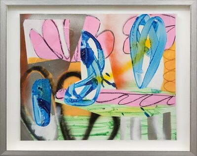 Fiona Ackerman, 'Composition No 14 - plant-like collaged shapes in pink, orange, blue, and green', 2015