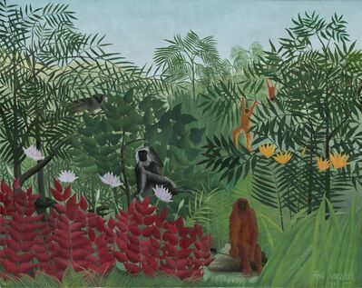 Henri Rousseau, 'Tropical Forest with Monkeys', 1910