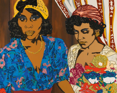 Mickalene Thomas, 'Tamika and Jessica with Flowers', 2008
