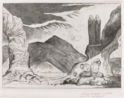 William Blake (1757-1827), 'The Circle of the Falsifiers: Dante and Virgil Covering their Noses because of the stench', 1827
