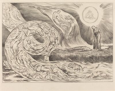 William Blake, 'The Circle of the Lustful: Paolo and Francesca', 1827