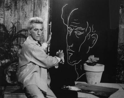 Lucien Clergue, 'Jean Cocteau faisant son autoportrait Testament d`Orphée, Les Baux de Provence', 1959