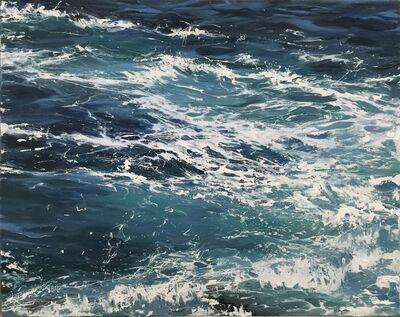 """Annie Wildey, '""""Waters Blue II"""" oil painting of waves in dark blue water', 2010-2017"""