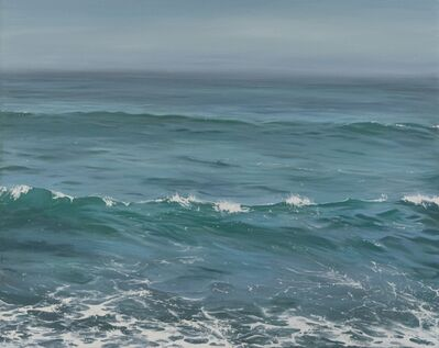 "Annie Wildey, '""Beyond the Horizon II"" oil painting of calm ocean water in greens and blues', 2010-2017"