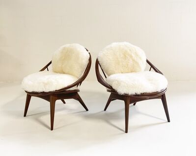 Ib Kofod-Larsen, 'Bentwood Lounge Chairs with Sheepskin Cushions', 1960s