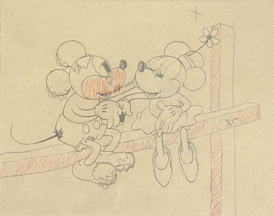 Walt Disney Studios, 'Walt Disney Production Drawing from Touchdown Mickey (1932) featuring Mickey Mouse and Minnie Mouse', 1932