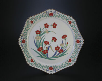 Sakaida Kakiemon XIV, 'Nigoshide white plate  with dianthus patterns', 2012