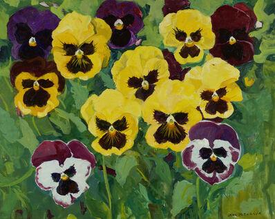 Jane Peterson, 'Seven Yellow Pansies'