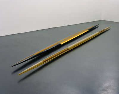 "Isa Genzken, 'Rot-gelb-schwarzes Doppelellipsoid 'Zwilling' (Red-Yellow-Black Double Ellipsoid ""Twin"")', 1982"