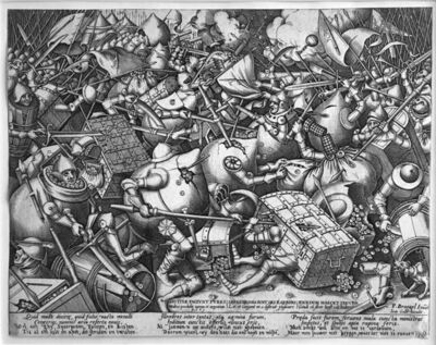 Pieter Bruegel the Elder, 'The Battle of the Money Bags and the Strong Boxes', 1570