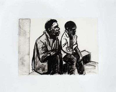 Sam Nhlengethwa, 'Waiting for a piece job', 2018