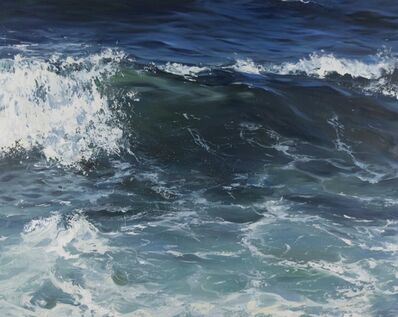 """Annie Wildey, '""""Crystal Blue"""" oil painting of dark blue waves with white sea foam', 2020"""