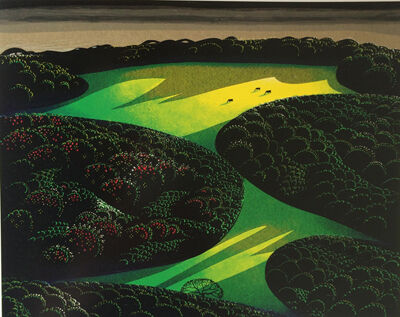 Eyvind Earle, 'Two Emerald Jewels', 1998