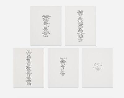 Sarah Lucas, 'Five Lists', 1991