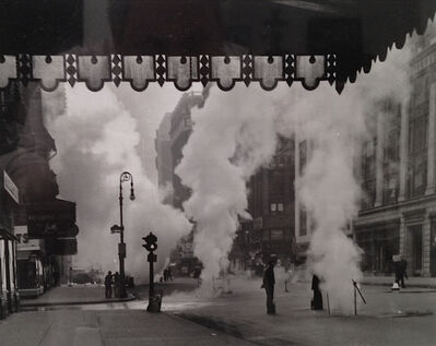 Weegee, 'Untitled (steam shooting up Broadway, under  Marquee of the Metropolitan Opera House)', ca. 1940