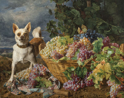 Ferdinand Georg Waldmüller, 'Dog Guarding a Basket of Grapes with a View of Heiligenstadt and the Danube in the Distance', 1836