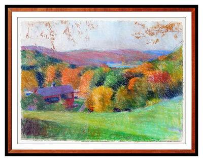 Larry Horowitz, 'Larry Horowitz Original Pastel Painting Lake Landscape Large Signed Framed Art', 1985