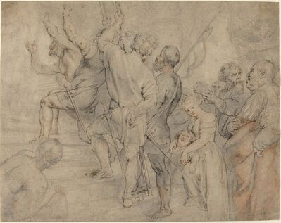 Peter Paul Rubens, 'Part of the Crowd at the Ecce Homo, over Anonymous Italian after Titian'