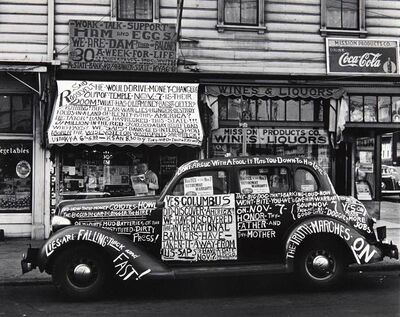 John Gutmann, 'Yes, Columbus Did Discover America, San Francisco', 1934