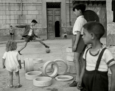 Herbert List, 'Soccer in the street. Sicily, Italy. ', 1950