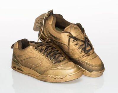 Ed Templeton, 'Templeton 2 (Gold Edition), Pair of sneakers with hand painting Size 10-1/2'