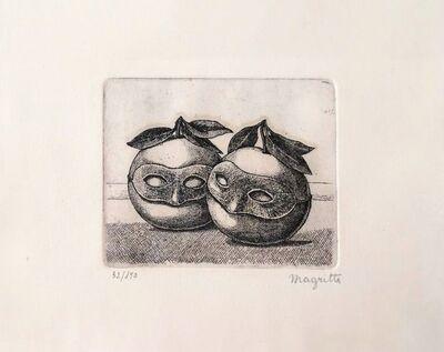 René Magritte, 'Les Pommes Masques', 1967