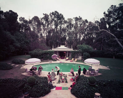 Slim Aarons, 'Scone Madame?: Guests gather around pool at home of interior decorator James Pendleton', ca. 1960