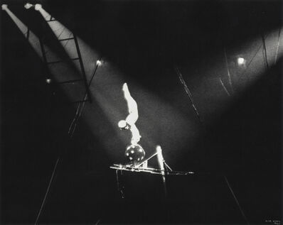 Ilse Bing, 'Circus Acrobat on Black Ball, New York', 1936