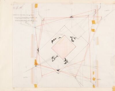 Barry Le Va, 'Untitled-Installation Drawing (Wright State University, Dayton, Ohio, B-Above Floor Level-Outside)', 1977