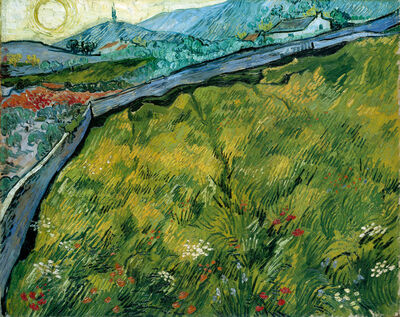 Vincent van Gogh, 'Enclosed wheat field with rising sun', late May 1889