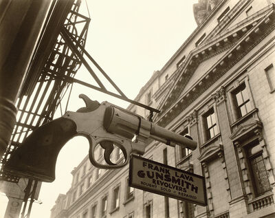 Berenice Abbott, 'Gunsmith and Police Department, 6 Centre Market Place, Manhattan', 1937