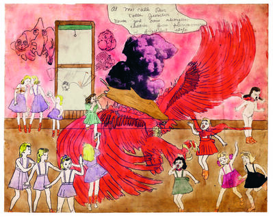 Henry Darger, 'At McCalls Run Coller Junction Vivian girl saves strangling children from phenomenon of frightful shape', 1910-1970