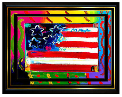 Peter Max, 'PETER MAX Acrylic PAINTING on CANVAS All ORIGINAL FLAG with HEART Signed Art oil', 1995