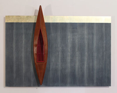 David Ruddell, 'Blackboard, Gold Strip, Boat with Red Interior', 2015