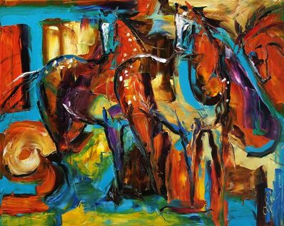 Laurie Pace, 'Original Horse Painting 'Appaloosa in the Wind' Colorful Equine Art, Modern Western Art', 2017