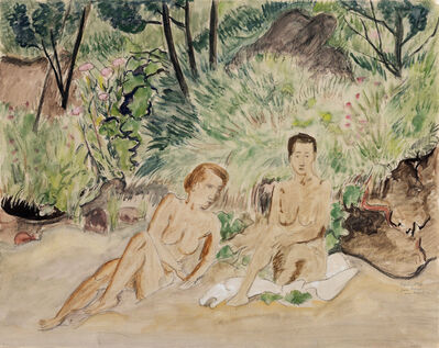 Erich Heckel, 'Two Reclining Nudes in a Landscape (Zwei badende)', 1926