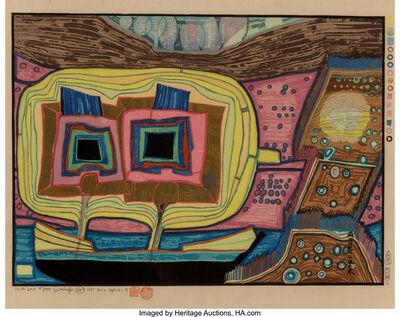Friedensreich Hundertwasser, 'Zwei Bäume auf dem Schiff Regentag', 1971